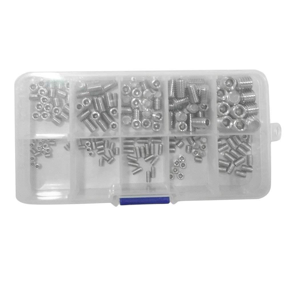 200 piezas de acero inoxidable Allen Head Socket Hex Grub Tornillo Rosca Cup Point Surtido Kit de sujetadores con estuche de almacenamiento - Plateado Oyamihin
