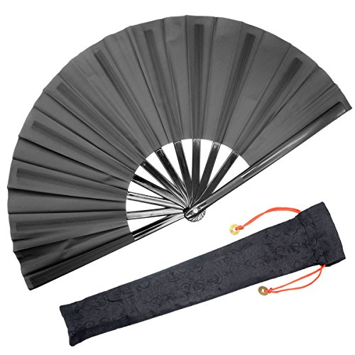 (OMyTea Large Rave Folding Hand Fan for Men/Women - Chinese Japanese Kung Fu Tai Chi Handheld Fan with Fabric Case - for EDM, Music Festival, Club, Event, Party, Dance, Performance, Decoration (Black))