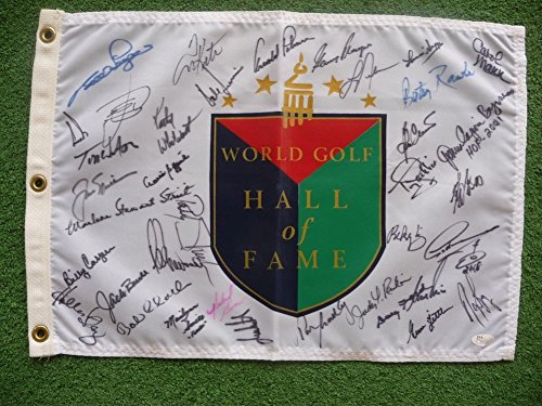 World Golf Hall Of Fame - Nylon World Golf Hall Of Fame Flag Signed By 37 Members - JSA Certified Certifiedated
