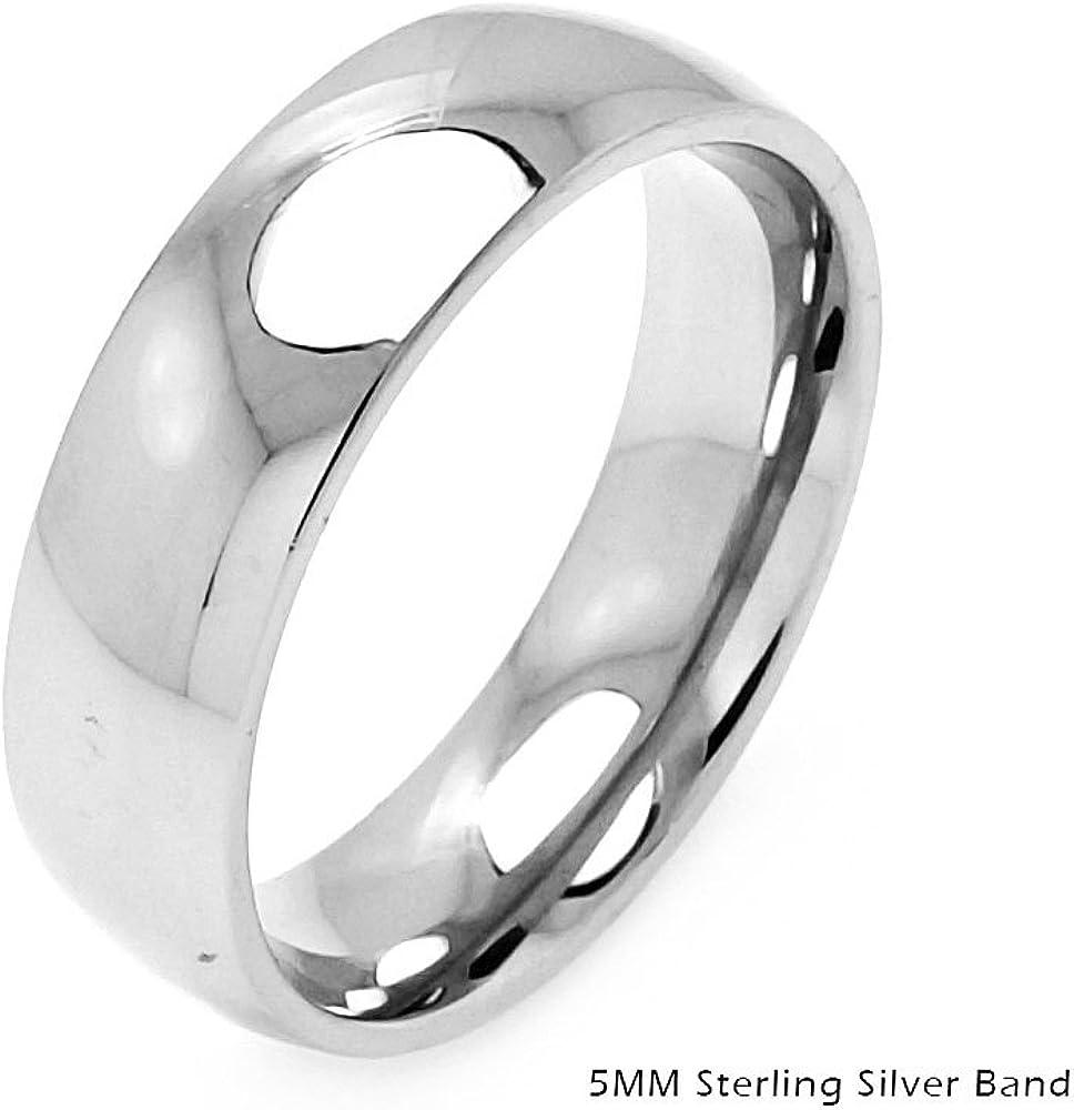 Princess Kylie 925 Sterling Silver Flat Plain Wedding Band Ring 5MM