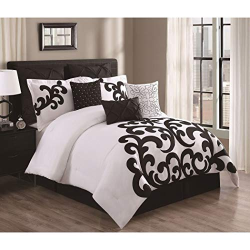 - 9 Piece Elegant Girls King Comforter Set With 3 Accent Pillows,Crisp White and Black Applique Scroll Work Design,Hand Sewn Mother-of-Pearl Accents,Chic,Modern,Beautiful,Stunning and Luxurious Look