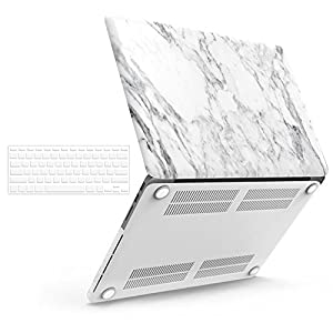 "iBenzer Basic Soft-Touch Series Plastic Hard Case & Keyboard Cover for Apple MacBook Pro 13-inch 13"" with Retina Display A1425/1502 (Previous Generation) (White Marble)"