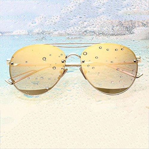 Sol Gafas Gold Orange Personalidad Frame Cara Red Resina gold Resplandor HLMMM Moolo local frame Black UVA Color de polarizadas Larga UVB Corea wUtxqC5