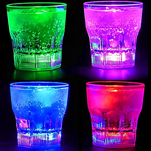 Perfect Pregame LED Light Up Drinking Glasses - 4 Pack Light Up Cups - 4 Mode Solid Color LED Cups - 4 Pack Light Up Drinking Glasses (Holiday Glasses Drinking)