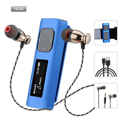 Aniee MP3 Player 16GB Lossless Sound Portable Music Player with FM Radio, Voice Recorder, 30 Hours Playback, Clip Sport MP3 Player with Armband, Earphone, USB Cable, Blue