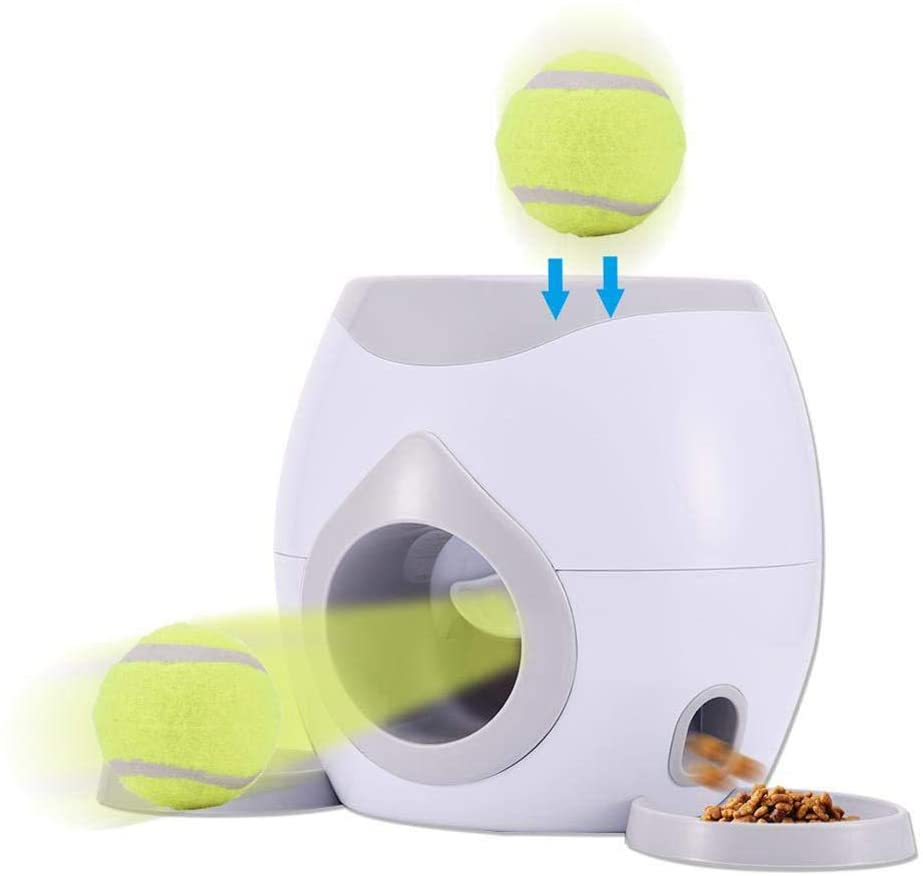 EXH Automatic Ball Launcher Dog Toy, Automatic Pet Feeder Fetch Tennis Ball Launcher Dogs Favorite Game, Interactive Dog Ball Fetch Treat Dispenser Treat Toy Tennis Ball Reward Machine for Dogs
