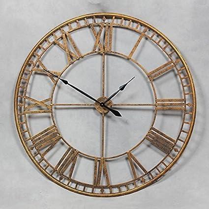 Super gigante 120 cm de esqueleto reloj de pared de hierro oro