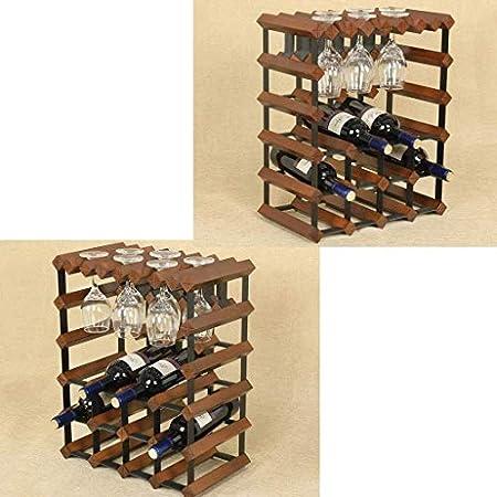 Estantería de vino Botella de vino de madera independiente de 3 niveles, barril de mandíbula de pino, colgante, 12 botellas, 6 copas de vino, estante de metal, estante de acero, soporte de almacenamie