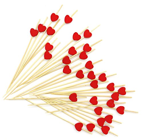 "Foods Cocktail (PuTwo 4.7"" Cocktail Picks Handmade Cocktail Sticks 100 Counts in Red Heart Shape)"