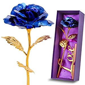Gold Leaf 24K Gilded Artificial Roses for Thanksgiving Day Mother's Day Valentine's Day Birthday Gift 75