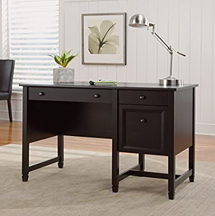 Sauder Furniture 414753 Edge Water Home Office Pedestal Black Computer Desk