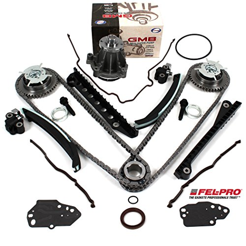 TK3060-VVTWPTCS Timing Chain Kit, Camshaft Phasers (LH & RH), Water Pump (M30), & Fel-Pro Timing Cover Gasket Seal Set for 04-08 Ford 5.4L (3-Valve) Expedition F-150 Lincoln Mark LT Navigator ()