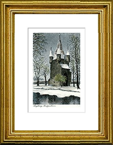 Kunstverlag Christoph Falk Hand-colored etching Augsburg, Fünfgratturm by Peters in a gold frame behind a passe-partout, graphics, art design, art print