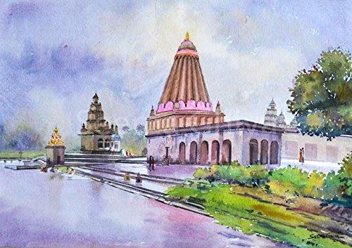ganpati temple watercolor painting by seema ghiya seema ghiya