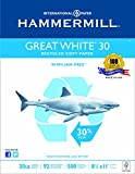 Hammermill Paper,  Great White 30% Recycled Copy Paper Poly Wrap, 20lb,  8.5 x 11, Letter, 92 Bright, 500 Sheets / 1 Ream (086710) Made In The USA
