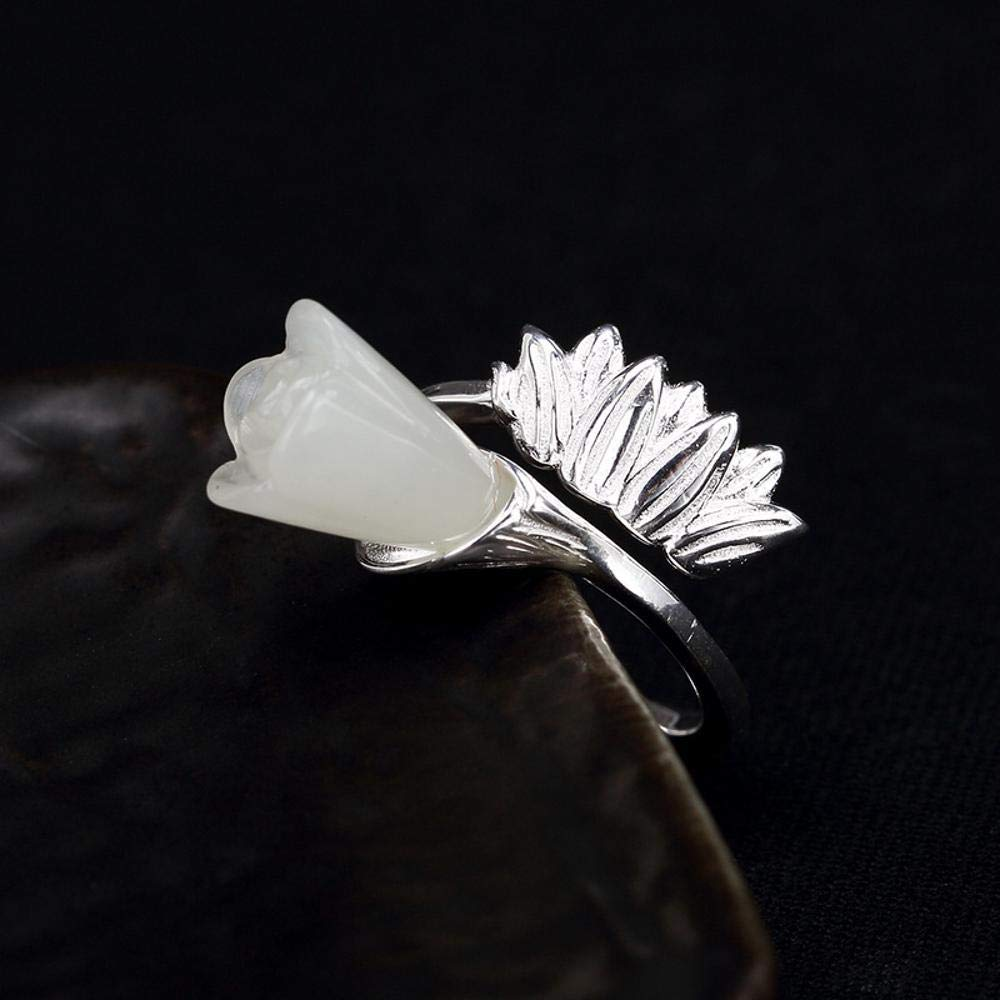 Weiwei Men Ring Rings S925 Pure Silver Inlaid Natural Baiyu Style Simple Magnolia Flower Ring