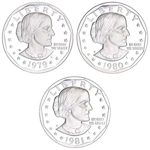 1979 S 1980 1981 Susan B Anthony Dollar Type 1 3 Coin Set Gem Deep Cameo Proof Run ()