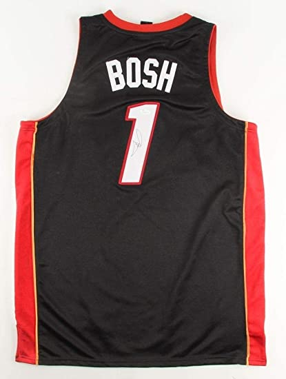 c57cd9da342 Image Unavailable. Image not available for. Color: Chris Bosh Autographed  Signed Miami Heat Black Jersey - JSA Certified