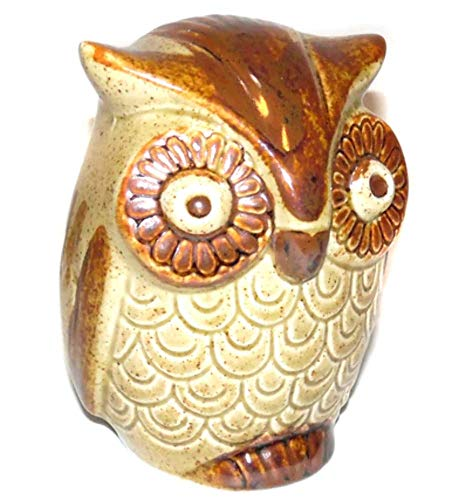 Retro Vintage Ceramic Art Pottery Figural Owl Shaped Change Bank with ()