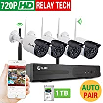 Home Security Camera System 4 Channel NVR Kit with 4PCS 720P 1.0MP HD IP Cameras (auto-match) Outdoor/Indoor WiFi Bullet wireless Cameras surveillance system (1TB HDD)