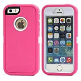 iPhone SE Case, Lookly [Armorbox Series] Heavy Duty Rugged Scratch Resistant Shockproof Full Body Protective with Built-in Screen Protector Case for Apple iPhone 5S/SE (White+Rose)