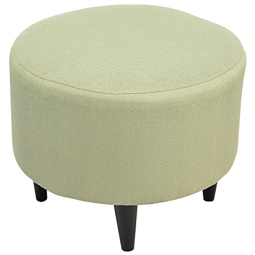 Sole Designs Candice Series Sophia Collection Round Upholstered Ottoman with Espresso Leg Finish, Sea Foam by Sole Designs