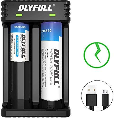 Dlyfull 18650 Ladegerät Intelligentes Batterieladegerät für 3,7V Li-Ion Akkus/Batterien 26650 18650 21700 20700 18350…