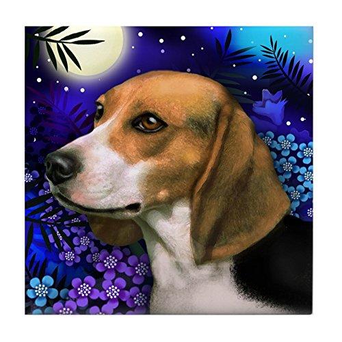 CafePress - Beagle Dog Moon Garden - Tile Coaster, Drink Coaster, Small -