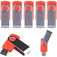 LHN® (Bulk 5 Pack) 32GB Swivel USB Flash Drive USB 2.0 Memory Stick (Red)