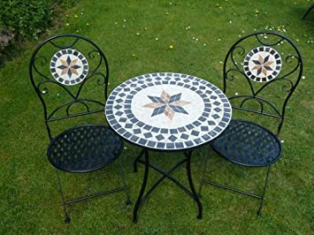 Strange Uk Gardens 3 Piece Metal Mosaic Bistro Set For 2 Quality Garden Patio Set For Two With 2 Folding Chairs And A 60Cm Table Interior Design Ideas Tzicisoteloinfo