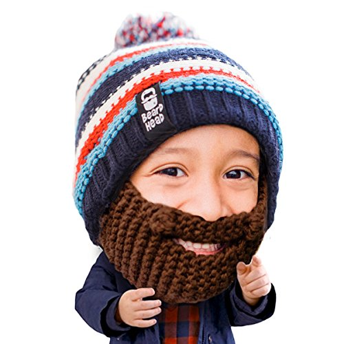 Beard Head Kid Gromm Beard Beanie -Knit Hat and Fake Beard for Kids and Toddlers Brown -