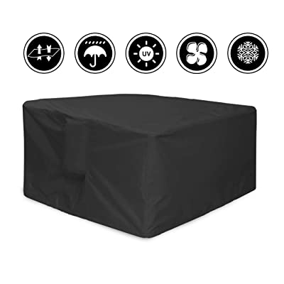 J&C 47x47x29inch Patio Furniture Cover, Outdoor Square Patio Furniture Set Covers Furniture Table Cover, Black Durable Waterproof Dust Proof Protection Covers for Garden Lawn Furniture Sets : Garden & Outdoor