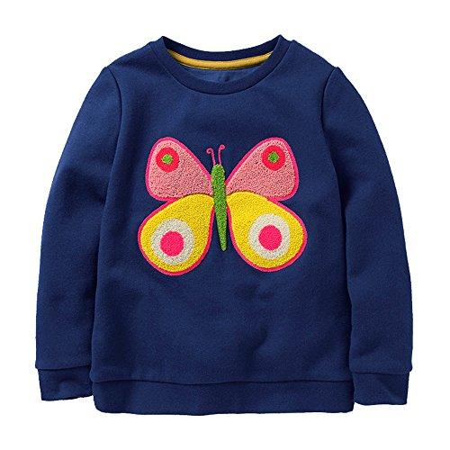 HUAER& Baby Girl's Cotton Crewneck Long Sleeved Sweater Cartoon Print Pullover (3T/2 YRS, Dark Blue)