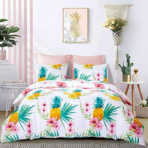 Price comparison product image ozyholy Duvet Cover Set with Tropical Floral Leaves Pattern Soft Breathable Winkle Free Fade Resistant Bedding Linens, 3-Pieces (Pineapple, Queen)