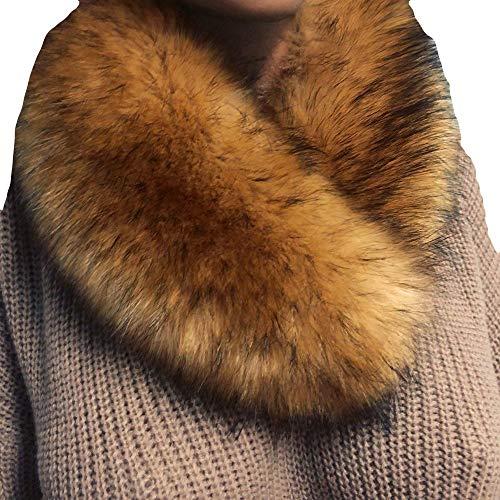 Print Vest Silk (Fashionhe Women Faux Wool Scarf Fuzzy Fur Collar Imitation Fur Grass Scarves Warm Shawl (Coffee,60-80cm))