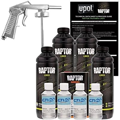 U-POL Raptor Bright Silver Urethane Spray-On Truck Bed Liner & Texture Coating W/Free Spray Gun, 4 Liters by U-Pol