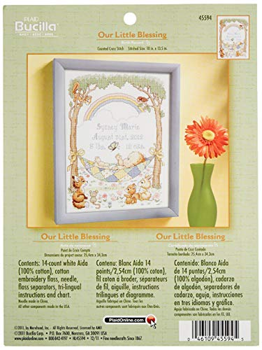 - Bucilla Counted Cross Stitch Birth Record Kit, 10 by 13.5-Inch, 45594 Our Little Blessing