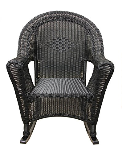 LB International Black Resin Wicker Rocking Chair Patio Furniture
