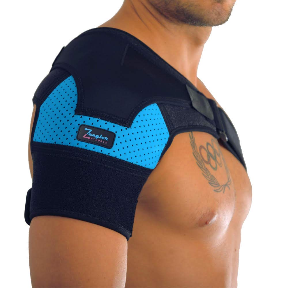 Shoulder Brace - Adjustable Sleeve, with Enhanced Support and Compression Pad & E-Book by Zeegler Orthosis - Therapy and Pain Relief for injury as Torn Rotator Cuff, Dislocated AC Joint, Bursitis, Frozen Shoulder (Blue) by Zeegler Orthosis