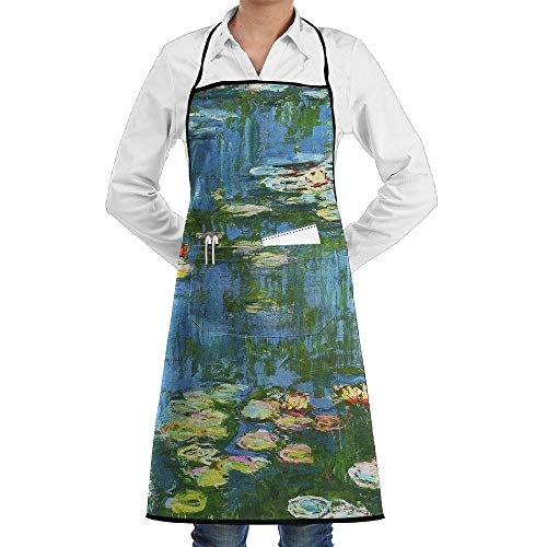Impressionist Oil Painting Lotus Pool Kitchen Chef Apron for Women and Men Korean Cooking Bib Apron Tabard with 2 Pockets - Love I Hat Chefs Lucy
