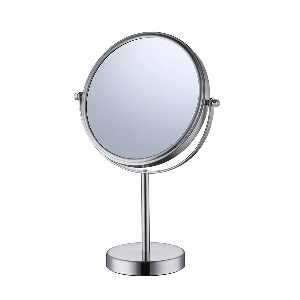 KES 8-Inch Two-Sided Makeup Mirror Tabletop Vanity Counter Top with Swivel 10x Magnification SUS 304 Stainless Steel Brushed Finish, BTM201M10-2 by Kes