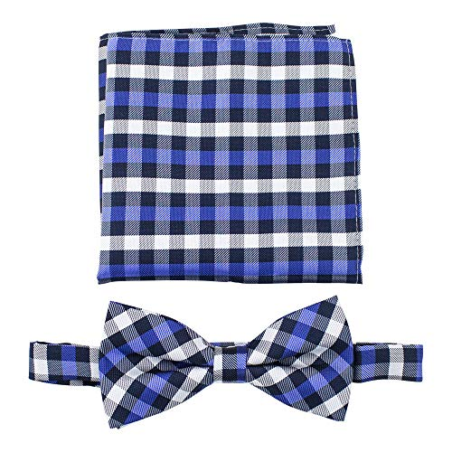 Gingham Plaid Bow Ties for Men - Bow Tie with Matching Pocket Square - Navy Blue/Royal Blue ()