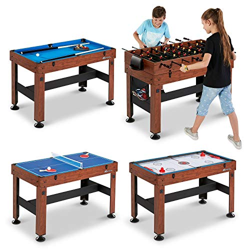 Wood Grain Laminated Finish 54 Inch 4-in-1 Combo Game Table for Your Indoor Gaming, such as Foosball, Hockey, Table Tennis, and Billiard perfect in Game Room, Playroom, Rec Space or Any Other Space from Snow Shop Everything