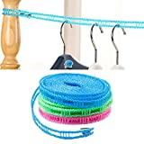 Clothesline, iKuboo 3 PCS 5M Portable AdjustableTravel Windproof Clothes Rope Hanger Clothes Line for Outdoor Indoor Home Camping Traveling Drying