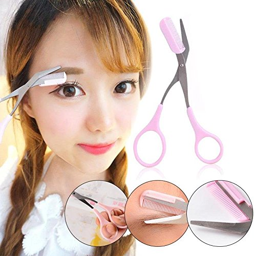attachmenttou Eyebrow Precision Trimmer Comb Eyelash Hair Scissors Cutter Remover Makeup Kit Tools for Women Msmask
