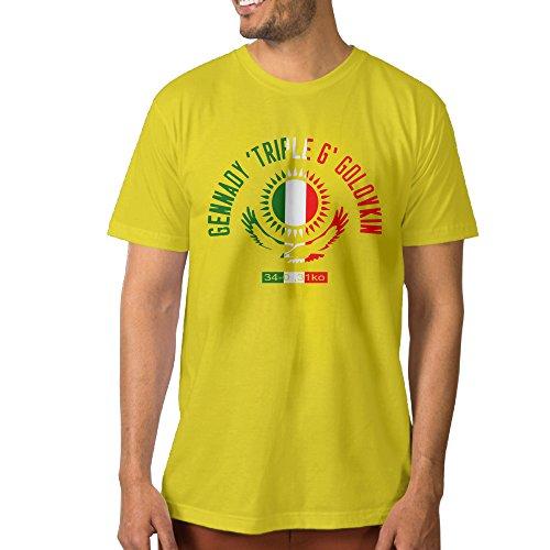 NUBIA Men's Boxer GGG Logo Vintage T-shirt Yellow Size XL