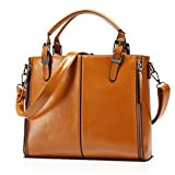 Santwo Pure Color Leather Cross-body Handbag Top-handle Bag for Women (brown)
