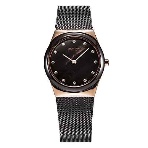 BERING Time 32230-262 Women's Ceramic Collection Watch with Mesh Band and scratch resistant sapphire crystal. Designed in Denmark.