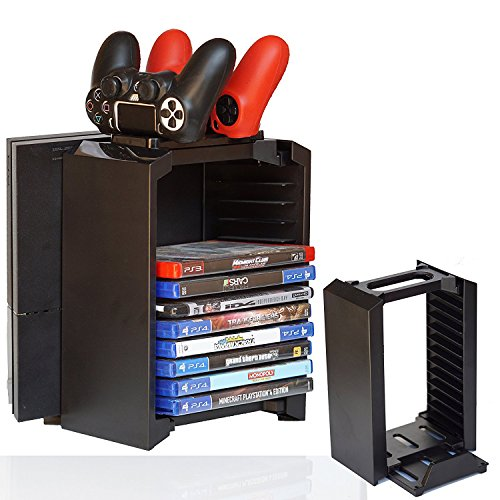 [FSC] Multi Functional Storage Stand Kit Organizer For PS4 with Charging Dock Stand Disk Storage for Use With PlayStation 4 Console and PS4 Controller (Storage Stand - Priority Time Delivery Usps