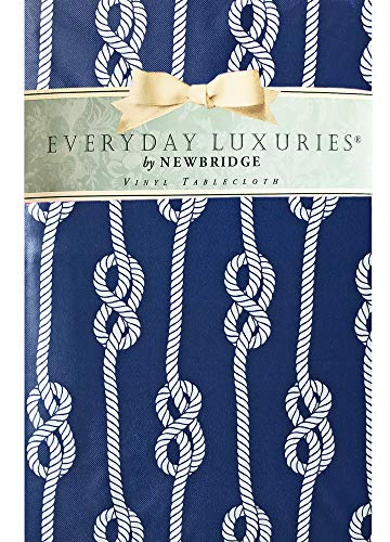 (Newbridge Nautical Rope Stripe Vinyl Flannel Backed Tablecloth - Coastal Rope Striped Indoor/Outdoor Vinyl Picnic, BBQ and Dining Tablecloth - 52